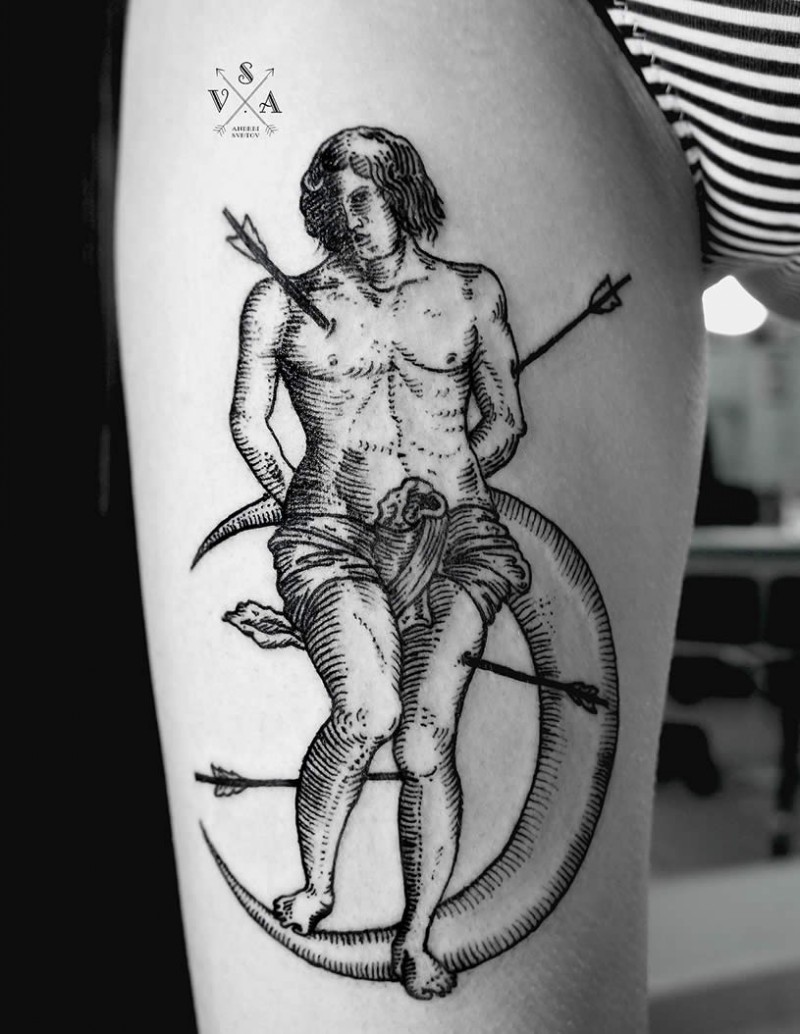 Engraving style black ink thigh tattoo of human with moon and arrows