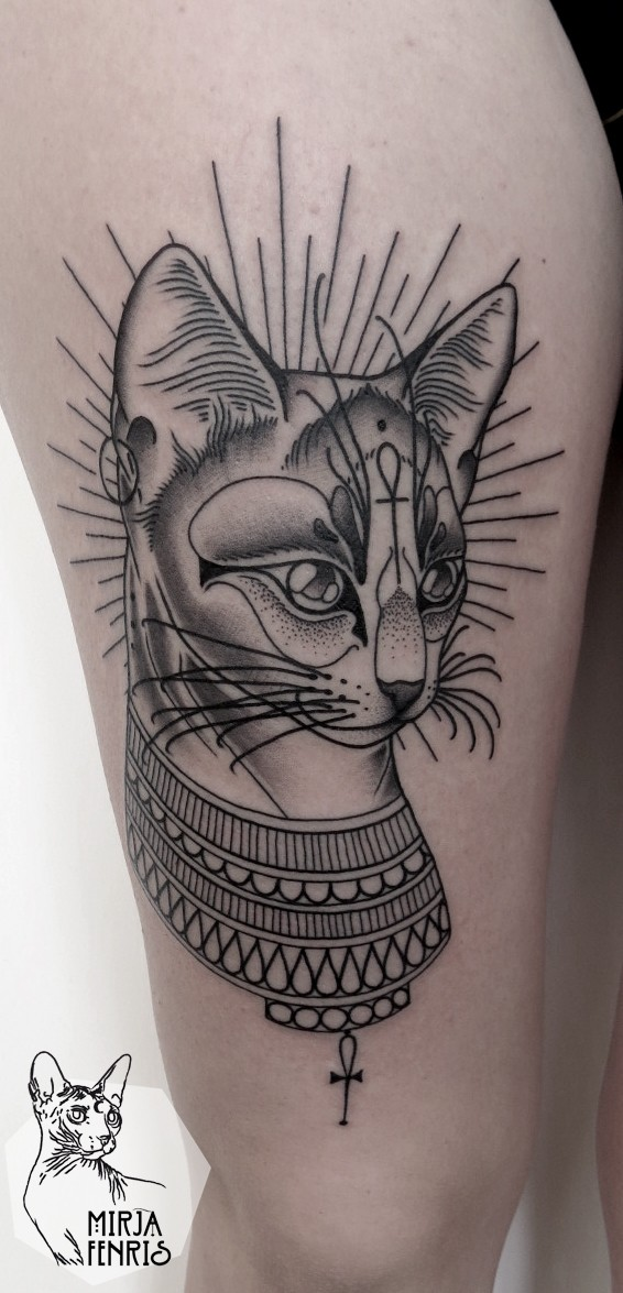 Engraving style black ink thigh tattoo of Egypt cat with symbol