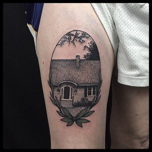 Engraving style black ink thigh tattoo of small house picture
