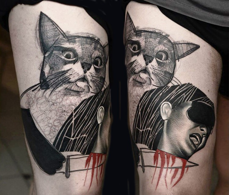 Engraving style black ink thigh tattoo of screaming woman with cat head