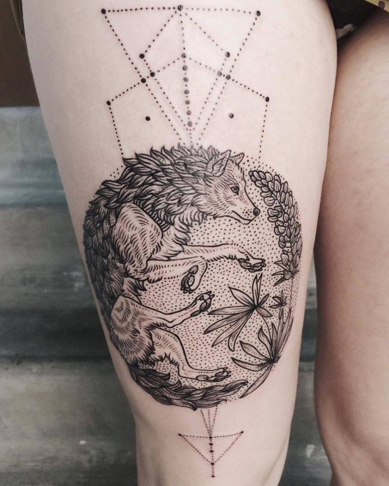 Engraving style black ink thigh tattoo of wolf with lines and flowers