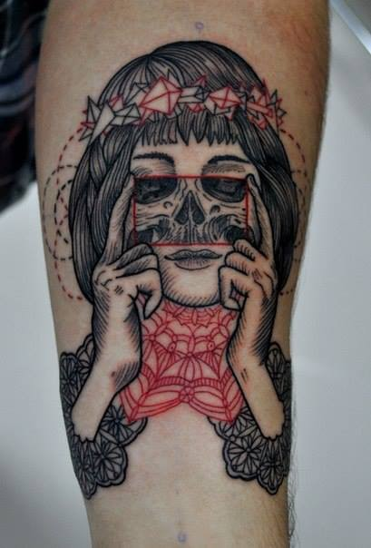 Engraving style colored arm tattoo of woman stylized with skull