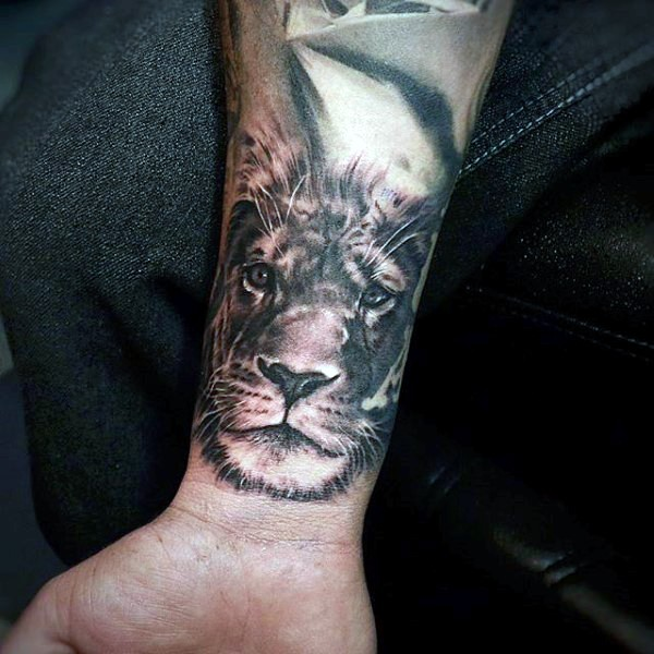 Engraving Style Colored Forearm Tattoo Of Lion Face Tattooimages Biz