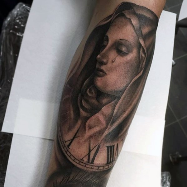 Engraving style colored forearm tattoo of crying woman with clock