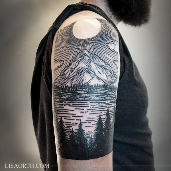Engraving style colored shoulder tattoo of mountain with lake and forest