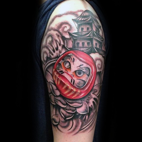 Engraving style colored tattoo of daruma doll with old house