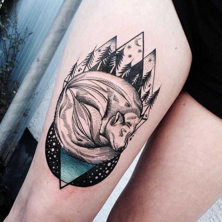 Engraving style colored thigh tattoo of sleeping fox with night forest