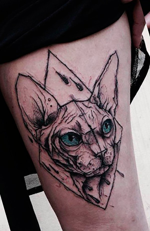 Engraving style colored thigh tattoo of Egypt cat with blue eyes