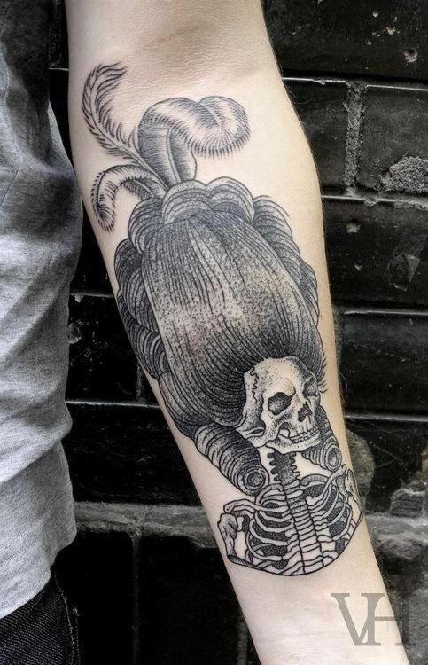 Engraving style nice looking forearm tattoo of medieval woman skeleton with big wig
