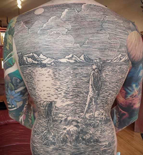 Enormous creative linework style whole of girl on lake shore
