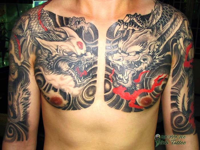 Evil chinese dragons tattoo on chest