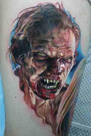 spaventoso cattivo zombie tatuaggio