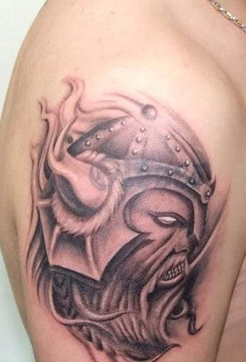 Evil viking tattoo on half sleeve