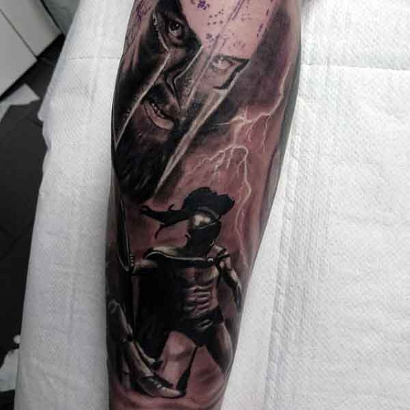 Excellent black ink Spartan warriors tattoo on forearm with lightning