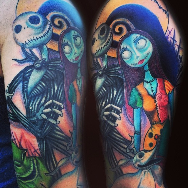 Excellent colored accurate looking shoulder tattoo of Nightmare before Christmas cute couple with ghost