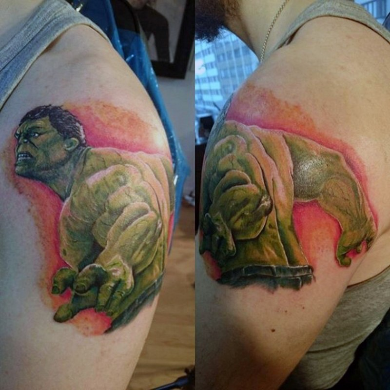 Fabulous comic book style painted colored shoulder tattoo of furious Hulk