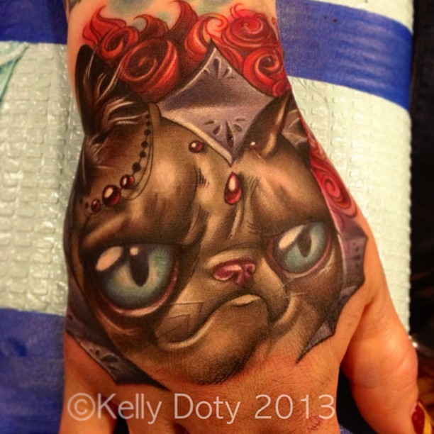 Fairy tale cat's portrait multicolored original hand tattoo