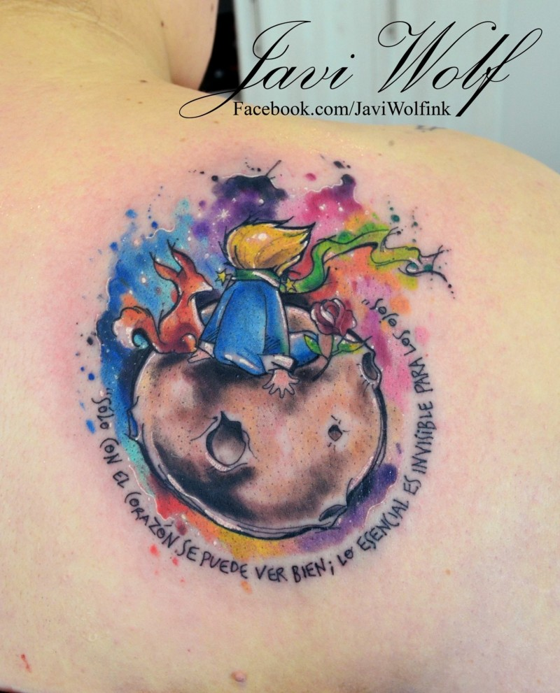 Fairy tale Little prince sitting on planet colored tattoo on shoulder blade by Javi Wolf with lettering in watercolor style