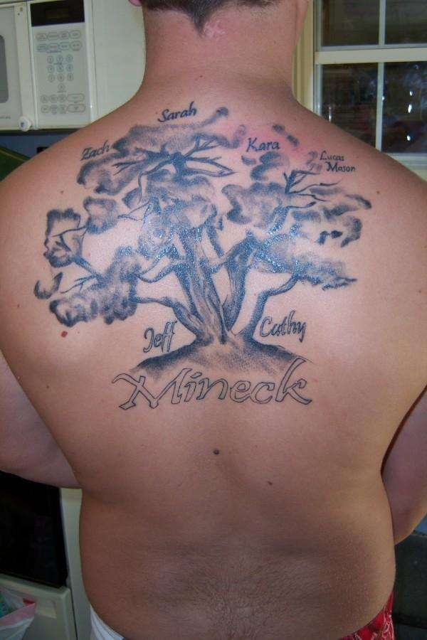 Family tree tattoo on back