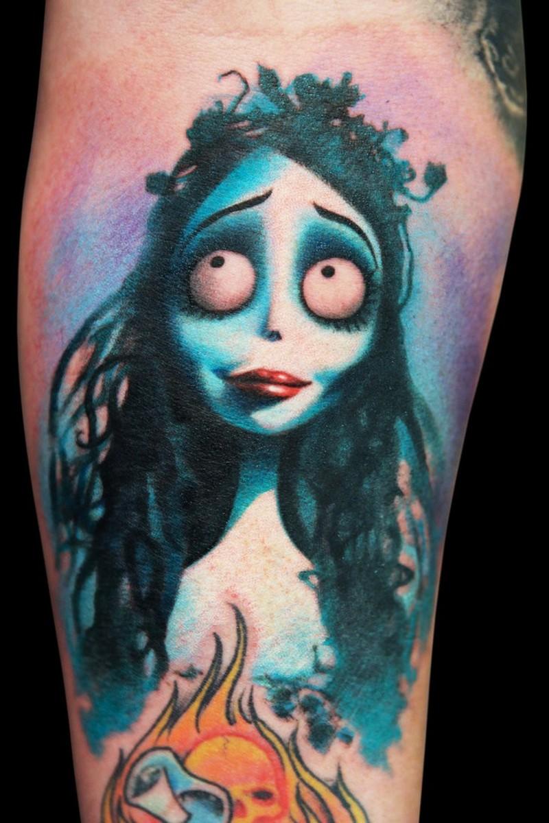 Famous cartoon like colored forearm tattoo of Nightmare before Christmas tattoo hero