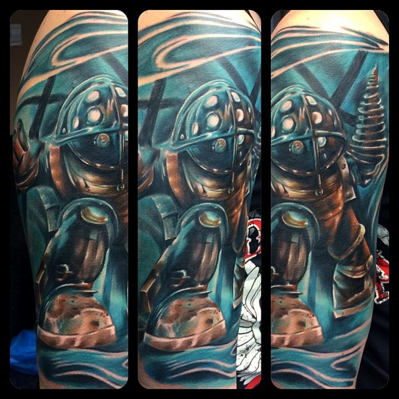 Famous cartoon themed colored shoulder tattoo of funny robot