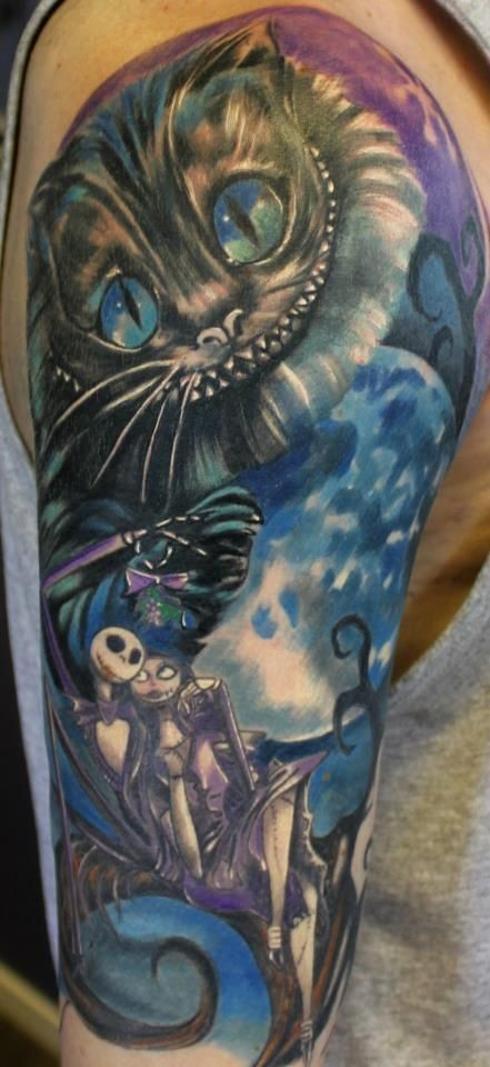 Famous old cartoon colored heroes detailed big tattoo on shoulder
