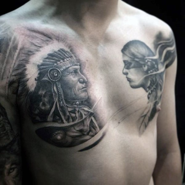 Fantastic black and white old Indian chief tattoo on chest combined with young Indian woman
