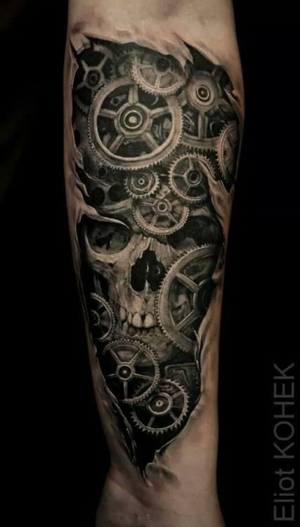 Fantastic black ink forearm tattoo of under skin gearwheels and human skull