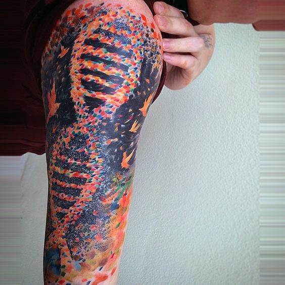 Fantastic colorful detailed DNA half sleeve area tattoo