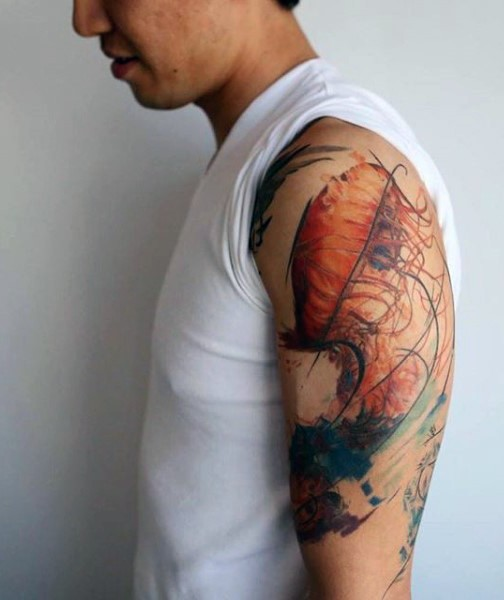Fantastic designed multicolored jellyfish tattoo on shoulder