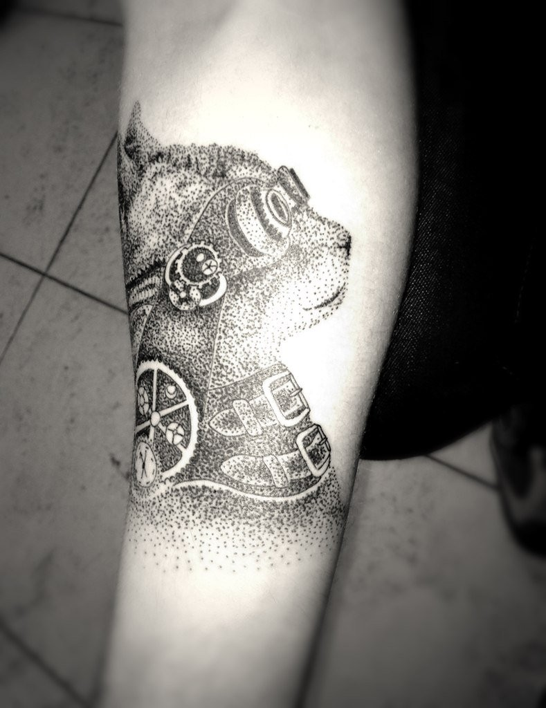 Fantastic dot style forearm tattoo of cat with cool glasses