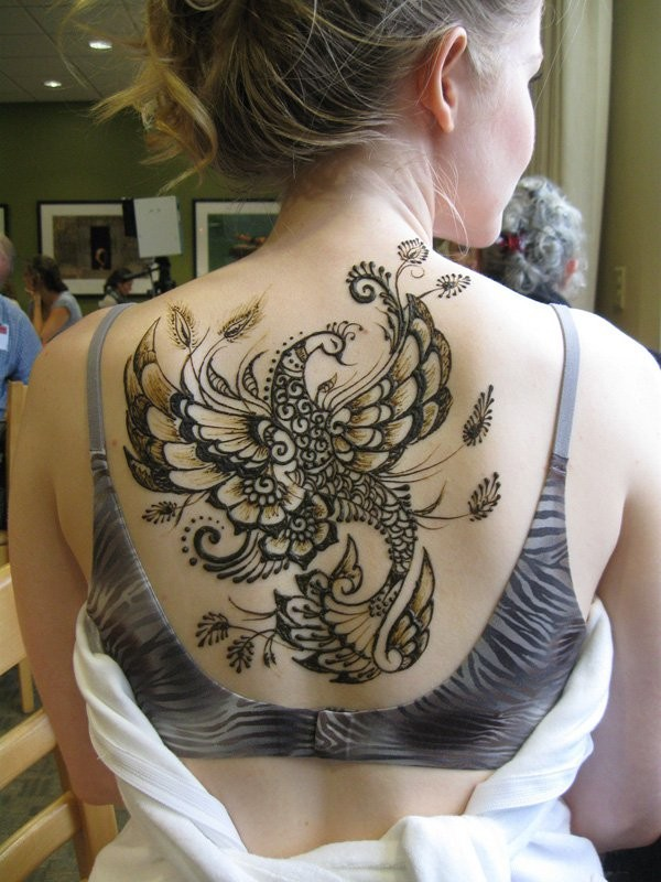 fantastic henna style upper back tattoo of beautiful bird. Black Bedroom Furniture Sets. Home Design Ideas