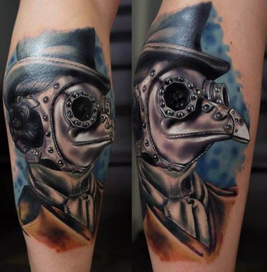 Fantastic lifelike very beautiful leg tattoo of plague doctor