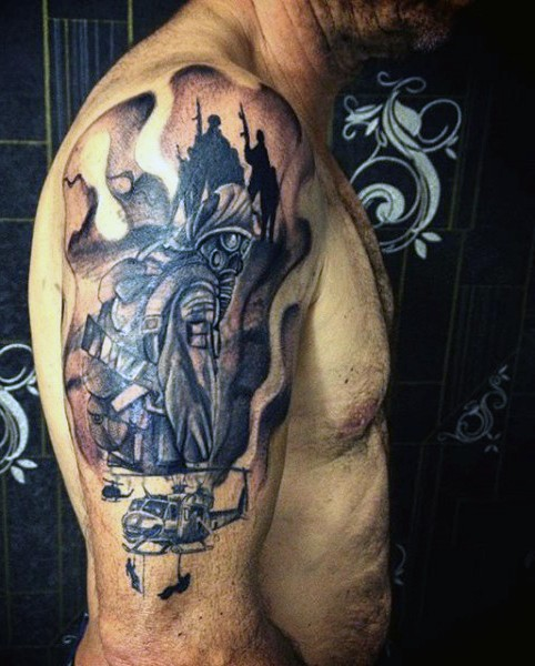 Fantastic military style shoulder tattoo with soldiers and helicopter