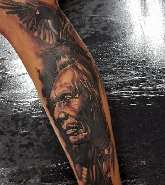 Fantastic natural looking colored sleeve tattoo of sad Indian and flying crow