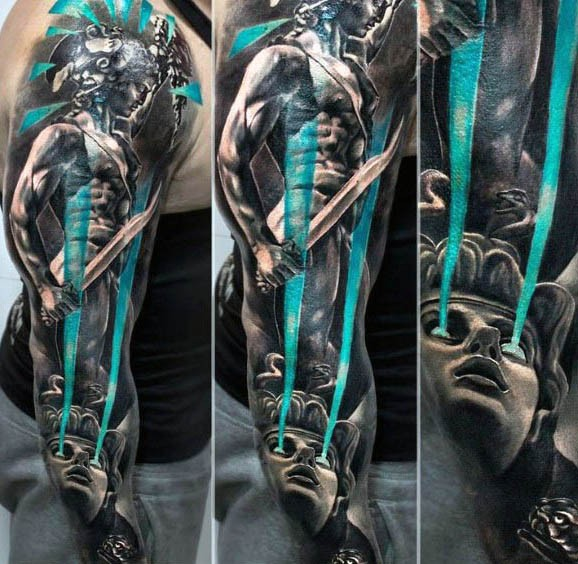 Fantastic painted and colored antic warrior with Medusa tattoo on sleeve