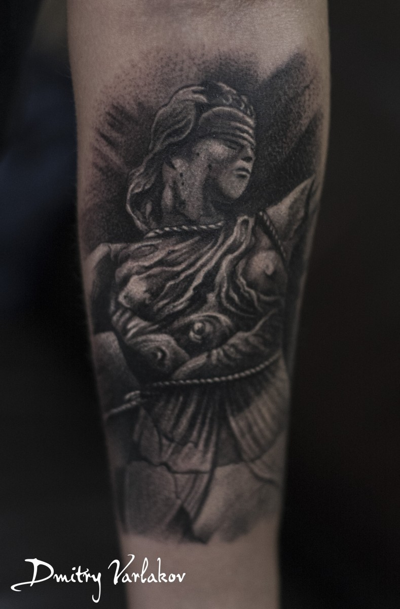 Fantastic painted big forearm tattoo of Justice statue