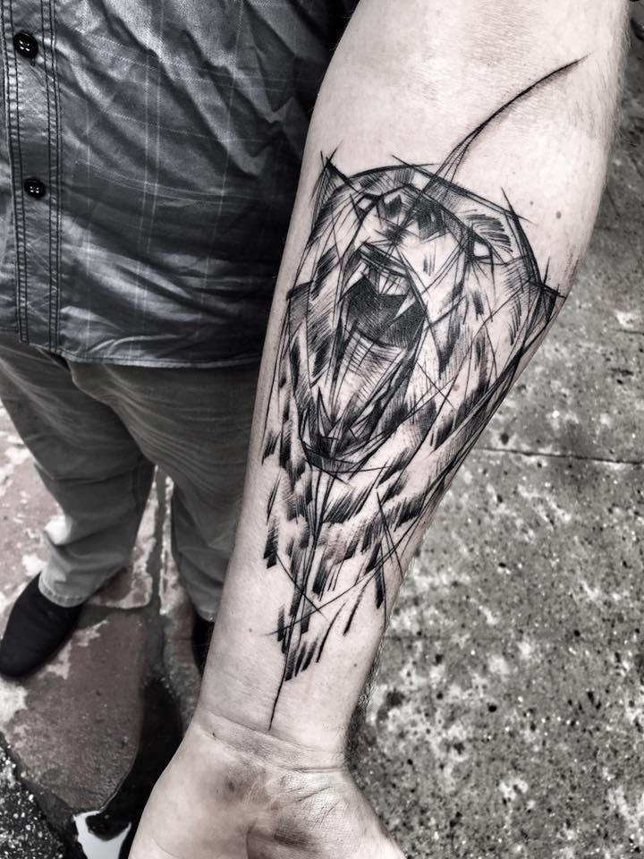 Fantastic painted by Inez Janiak sketch tattoo of roaring bear