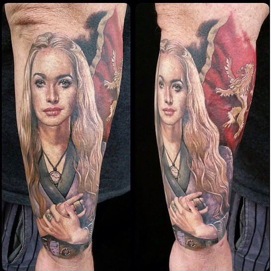 Fantastic painted very detailed colored Game of Thrones Game of Thrones hero tattoo on forearm with flag