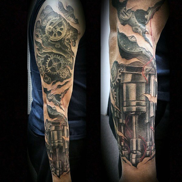 fantastic painted very detailed colored mechanic tattoo on sleeve. Black Bedroom Furniture Sets. Home Design Ideas