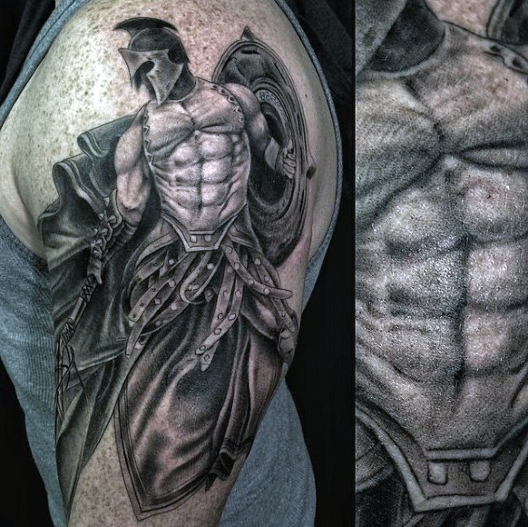Fantastic very detailed colored antic warrior tattoo on shoulder area