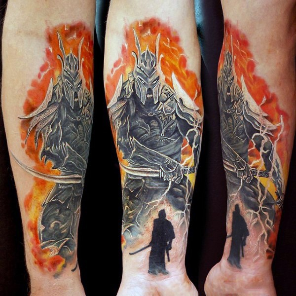 Fantasy like big colored forearm tattoo of fantasy warrior