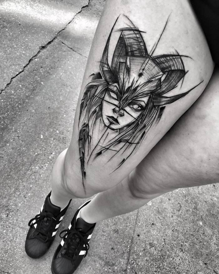 Tatuagem De Desenho De Mulher Demoniaca Estilo Fantasia Tinta Preta Pintada Por Inez Janiak Na Coxa Tattooimages Biz