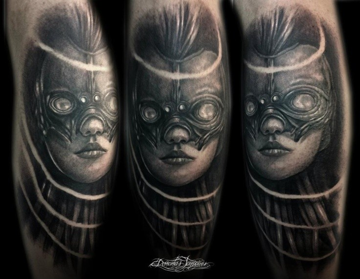 Fantasy style black ink leg tattoo of woman face with mask