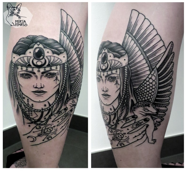 Fantasy style black ink leg tattoo of woman warrior with wings