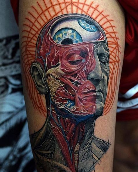 Fantasy style colored arm tattoo of human face with organs