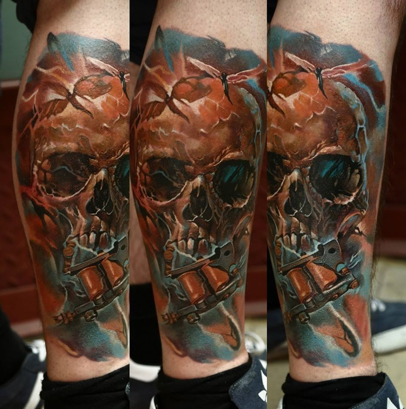 Fantasy style colored leg tattoo of corrupted human skull