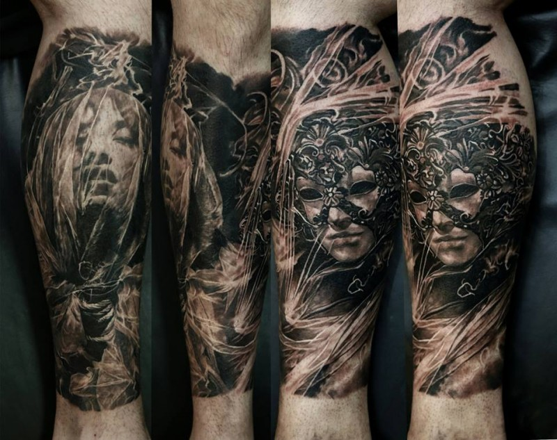 Fantasy style colored leg tattoo of fantasy woman with mask