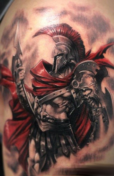Fantasy style colored shoulder tattoo of big warrior