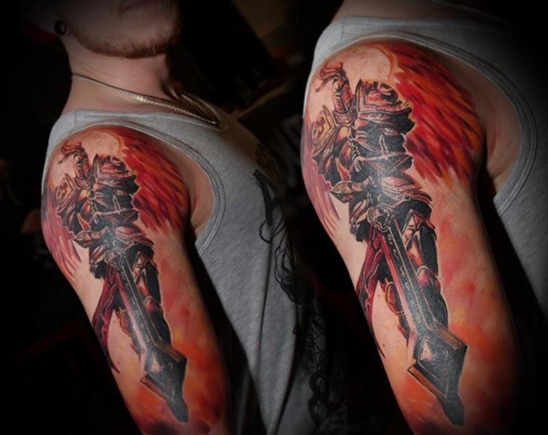 Fantasy style colored shoulder tattoo of fantasy angel warrior